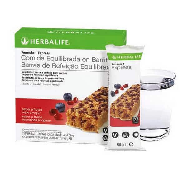 Barritas Fórmula 1 Express Herbalife sabor Frutos Rojos y Yogur