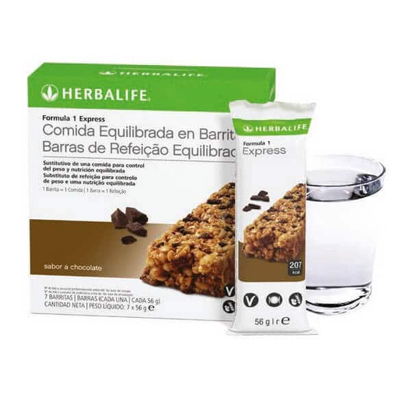 Barritas Fórmula 1 Express Herbalife sabor Chocolate