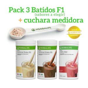 Pack 3 Batidos Fórmula 1 Herbalife + Cuchara Medidora